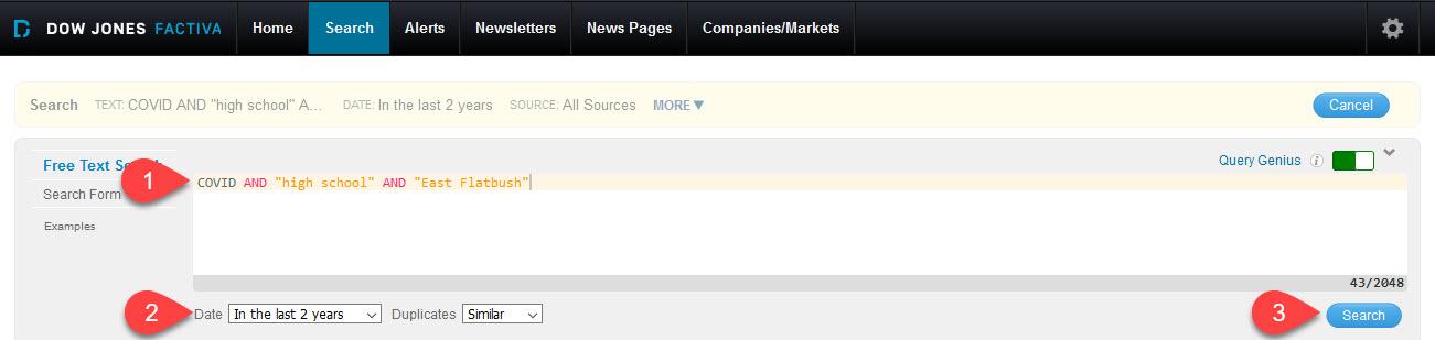 Factiva search screen
