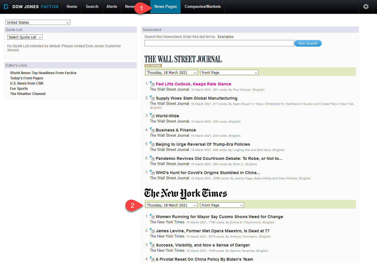 News Pages function in Factiva