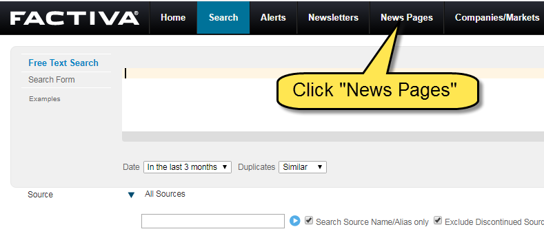 Screenshot of location of news pages option in Factiva