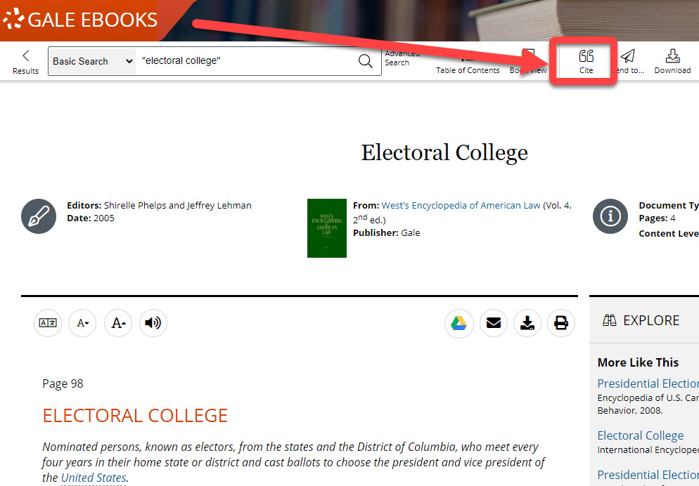 Cite feature in Gale Ebooks interface