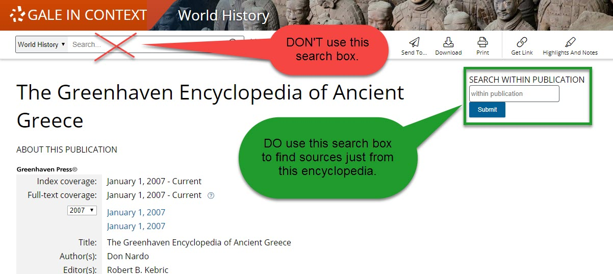 Greenhaven Encyclopedia of Ancient Greece search bo
