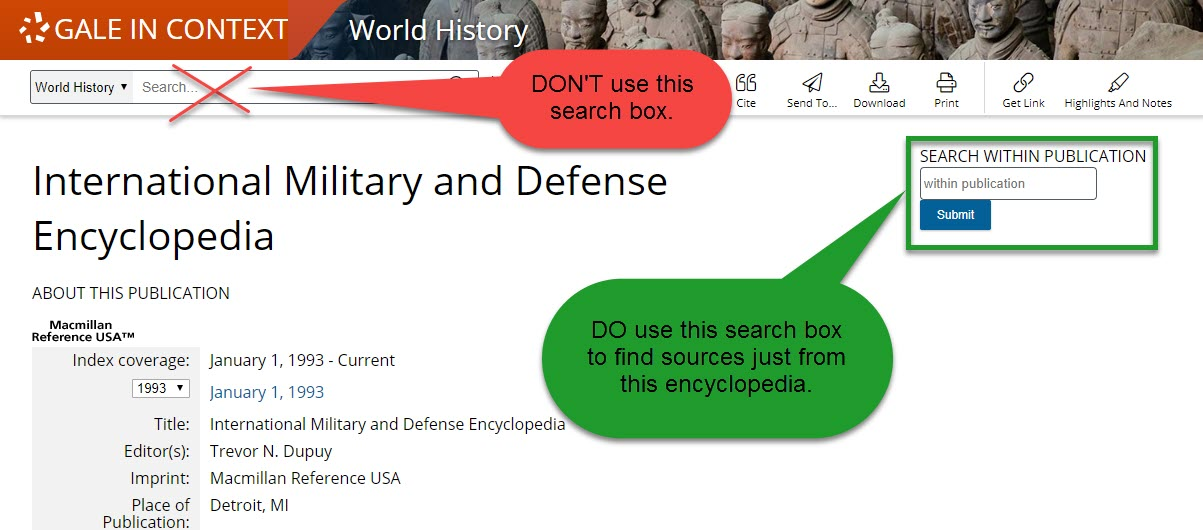 International Military and Defense Encyclopedia search box