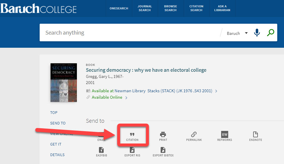 Citation feature in OneSearch interface