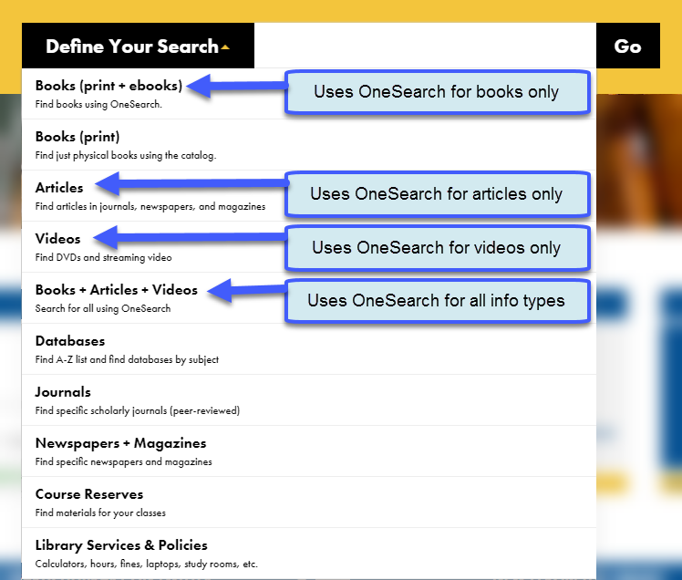 OneSearch options in yellow search box