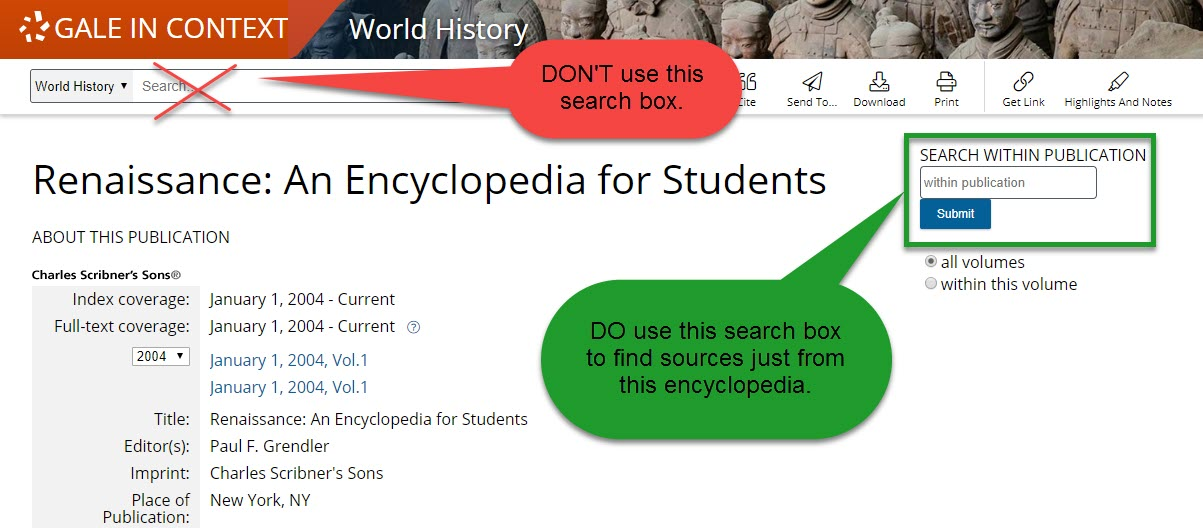 Renaissance: An Encyclopedia for Students search box