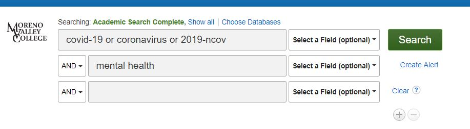 Ebsco Search Terms for COVID research