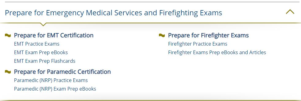 EMS and Fire modules in Learning Express Prep Step