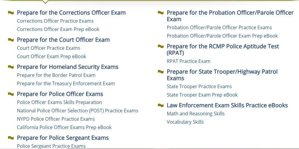 Law Enforcement modules from Learning Express Prep Step