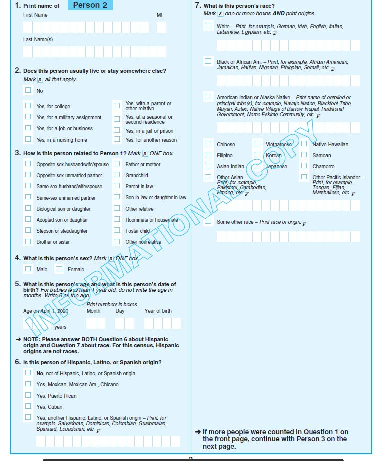 Image of census questionnaire sample page