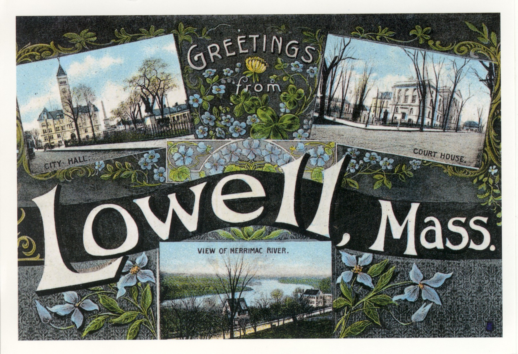 "postcard reading ""Greetings from Lowell"""