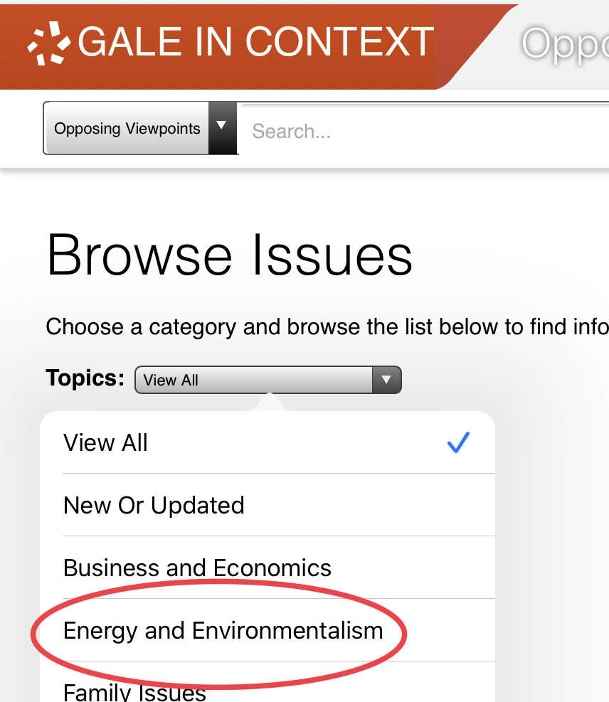Screenshot of Browse Issues page with Energy and Environmentalism link circled