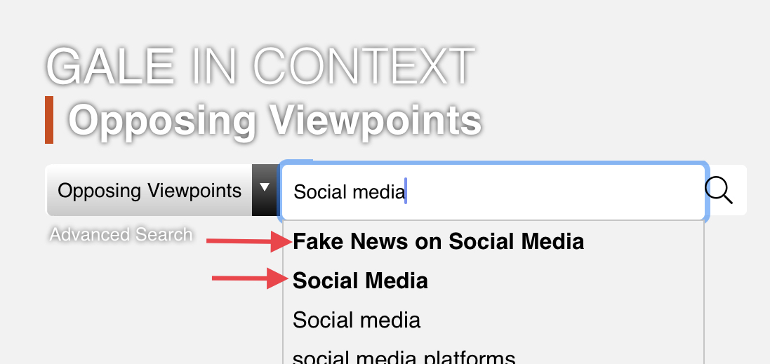 "Screenshot of Opposing Viewpoints homepage with ""social media"" and ""fake news on social media"" and ""social media"" topic page suggestions highlighted."