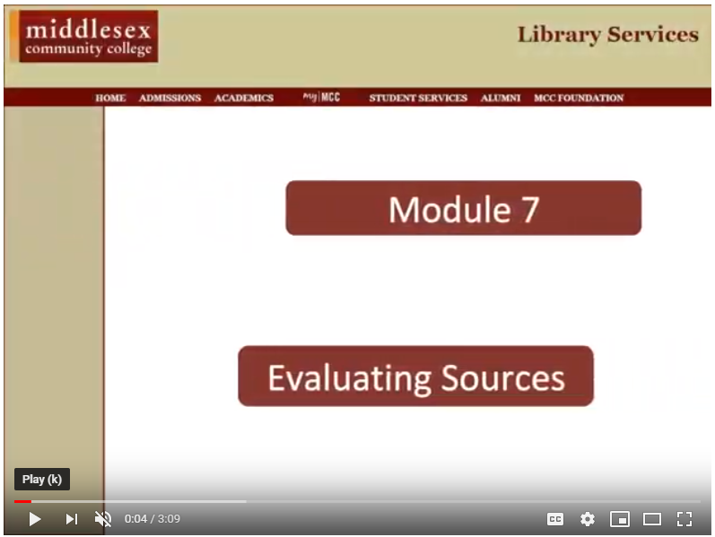 screenshot of MCC's Evaluating Sources tutorial video