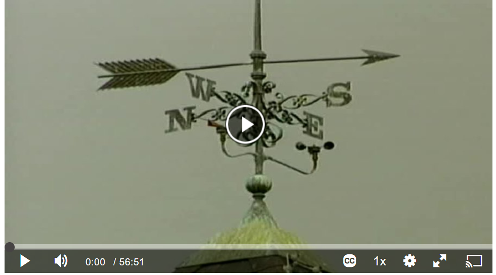 screenshot from film titled Joseph Campbell's Influence. Screenshot shows image of a weathervane.