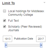 screenshot of search limiters, with full text and scholarly journals selected