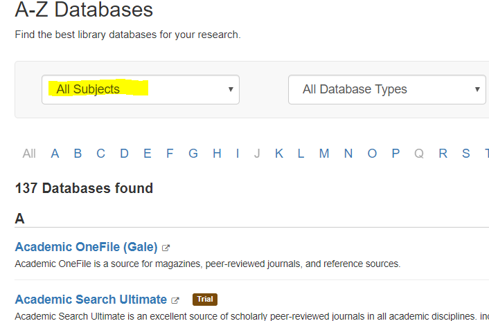 screenshot of A-Z databases page, with All Subjects dropdown menu selected