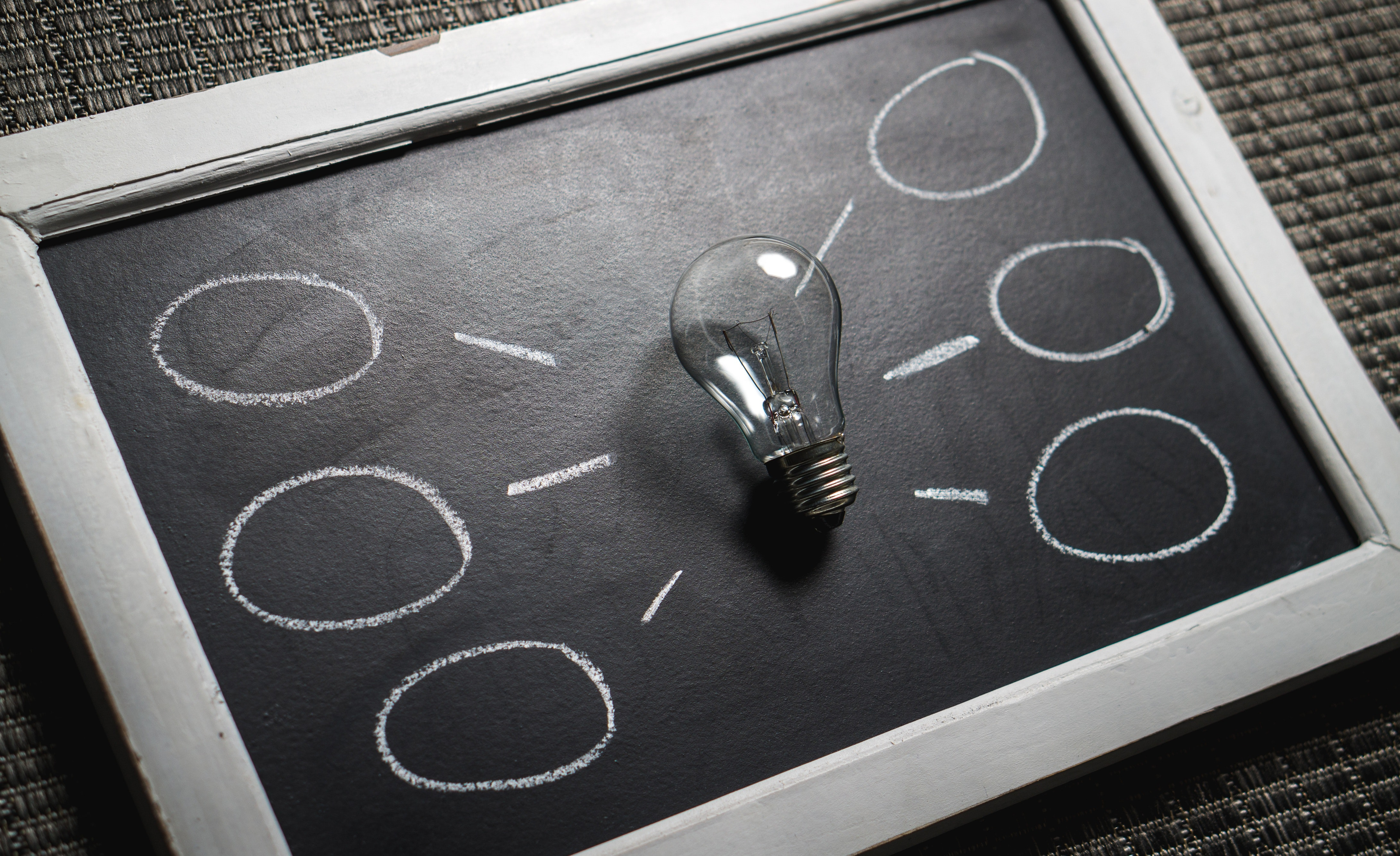 blackboard with light bulb and idea bubbles drawn around it