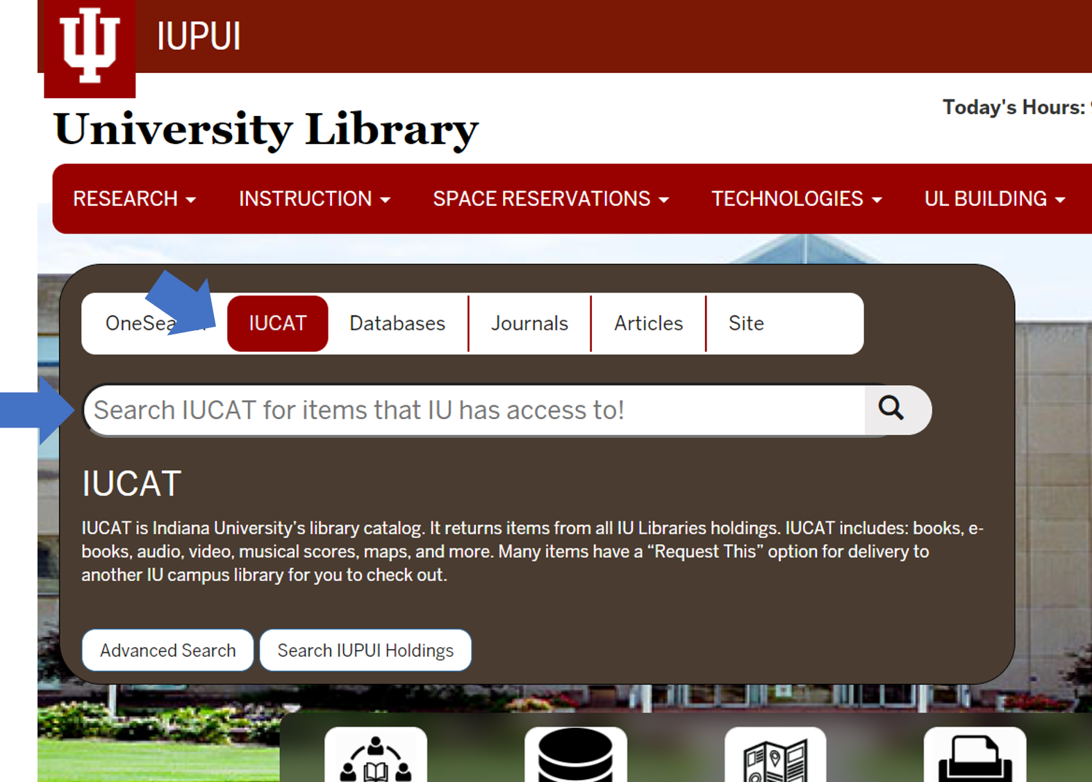 screenshot of home page with IUCAT highlighted