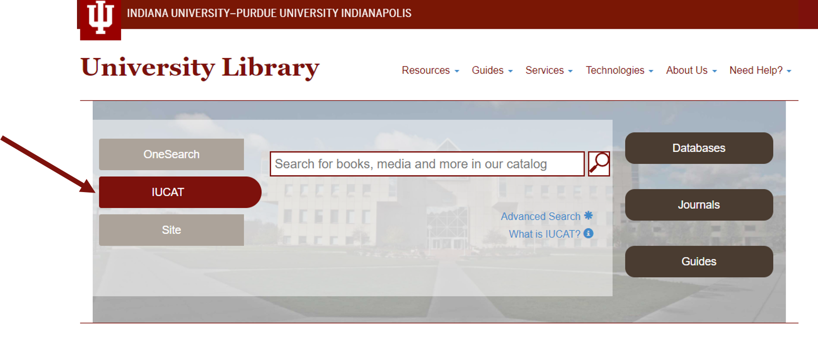 Screenshot of University Library Home Page with IUCAT search box