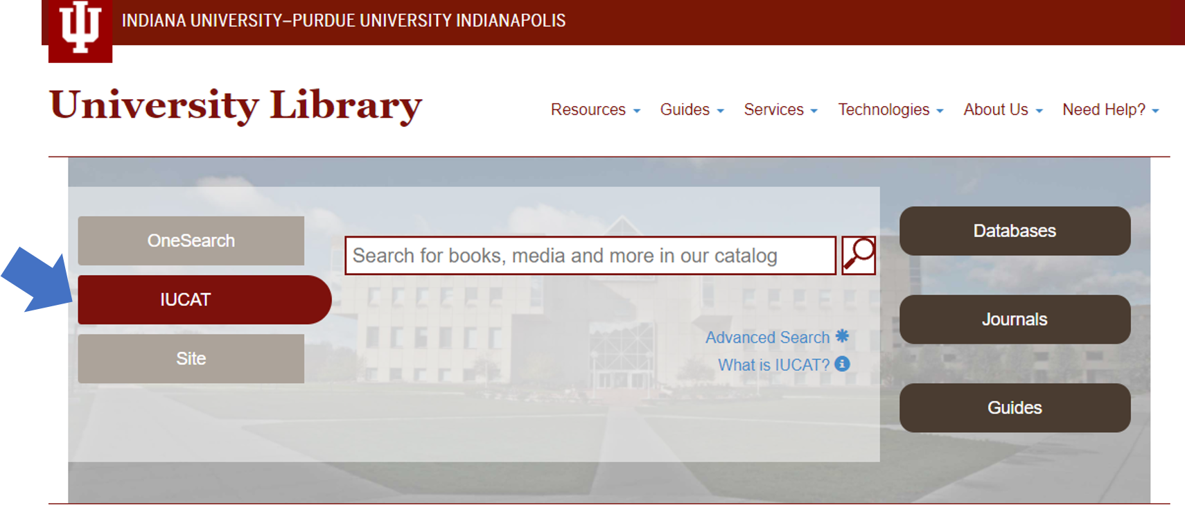 IUCAT on Library Home Page