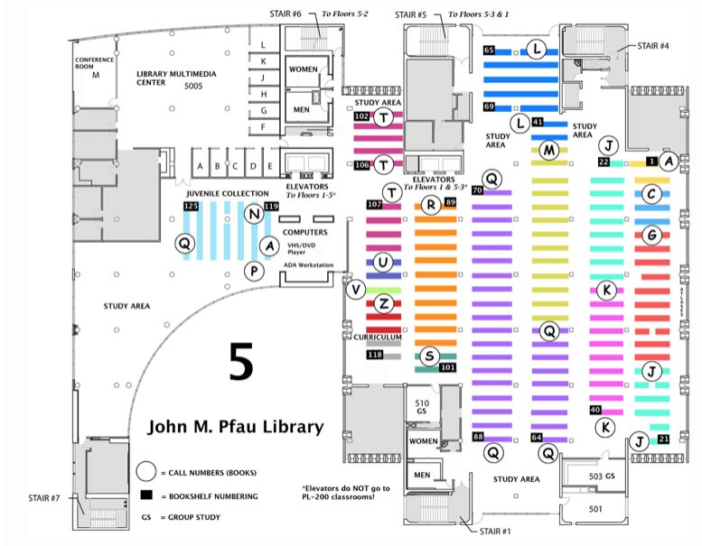 Map of the 5th floor of the library.