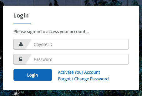 Screenshot of second login screen.