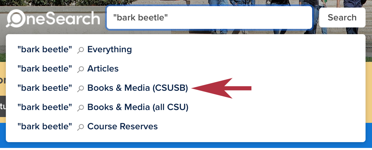 """bark beetle"" sample search in the OneSearch database."