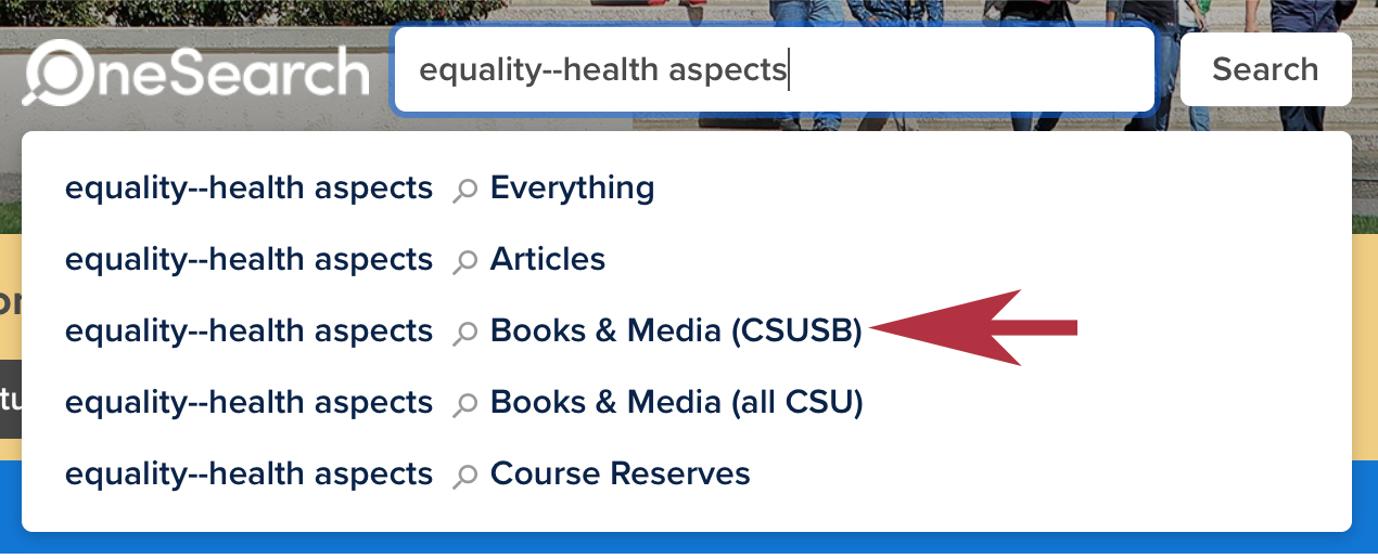 Equality--health aspects sample search in the OneSearch database.