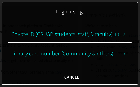 Login using: Coyote ID or Library Card Number.