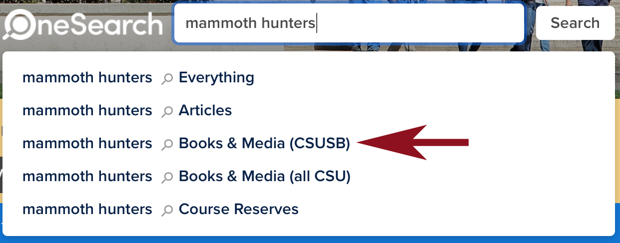 A title search for Mammoth Hunters in OneSearch.
