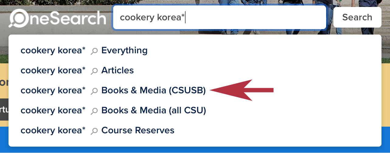 A keyword search for cookery korea* in OneSearch.