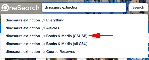 A keyword search for dinosaurs extinction.