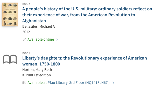 1 online book and 1 print book in the Pfau Library