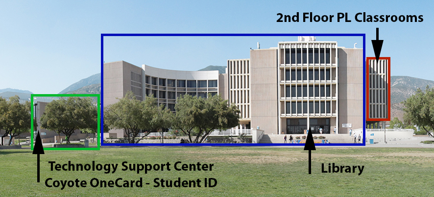 A panoramic photo of the library building with the different sections (Technology Support Center, Coyote OneCard - Student ID, Library, 2nd floor PL classrooms) outlined.