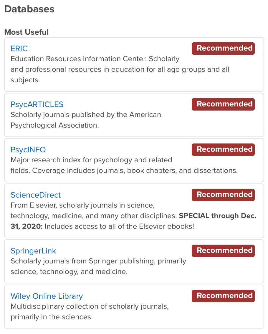 List of psychology databases.