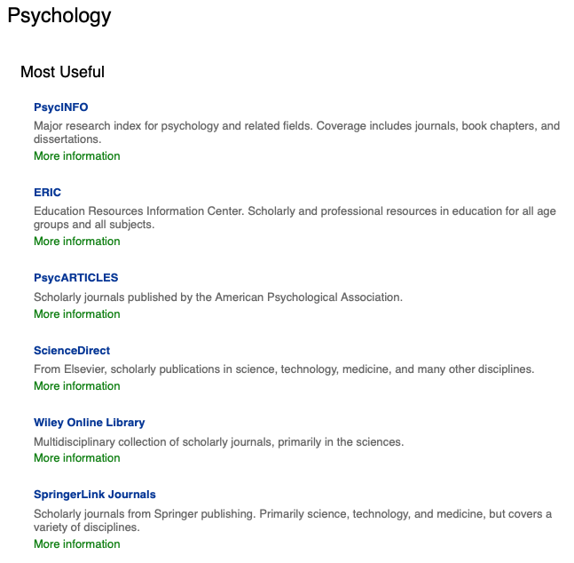 Screenshot: List of psychology databases.