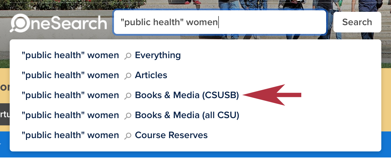 """Public health"" women sample search in OneSearch."