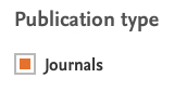 Limiting search results to journals.