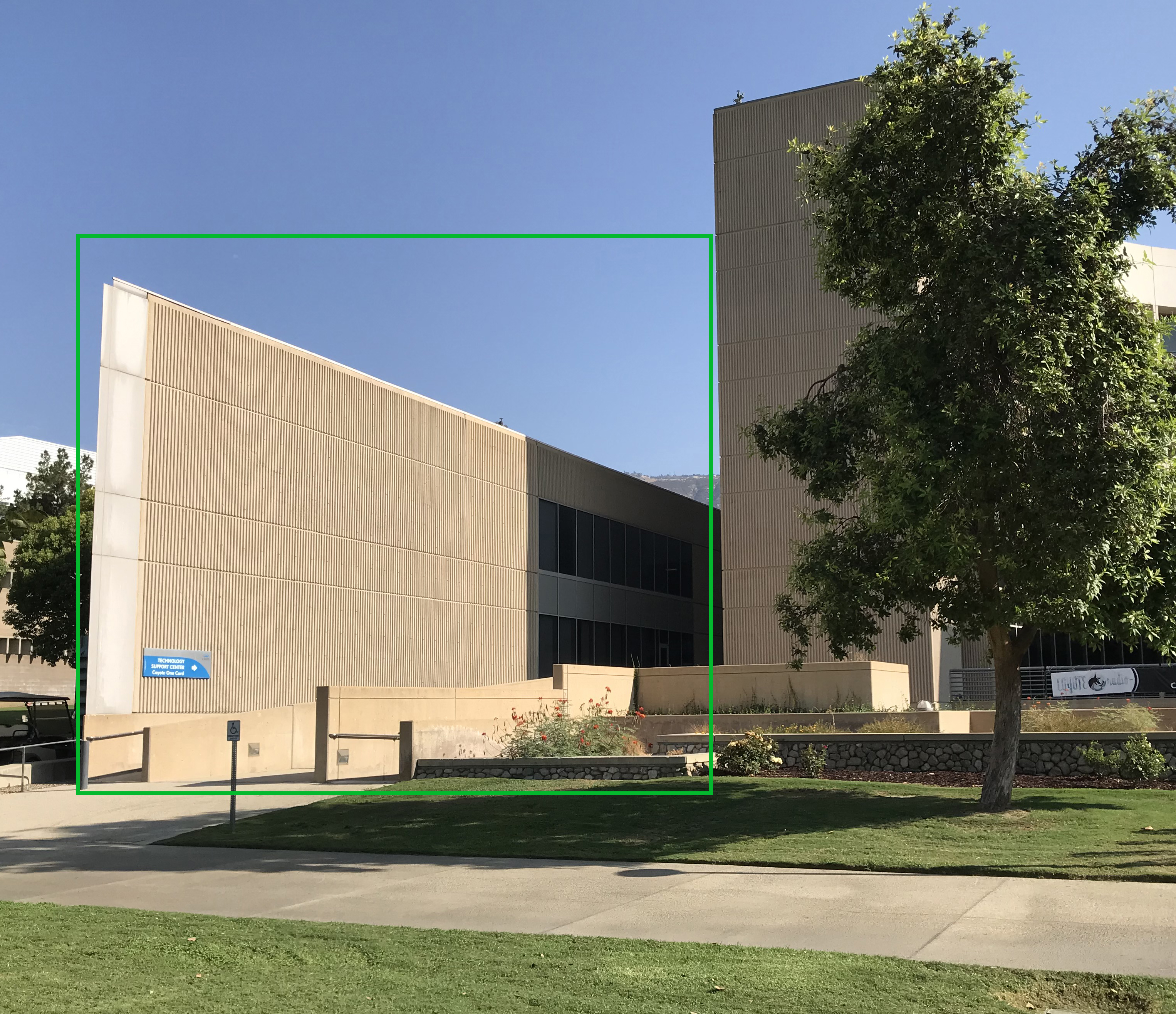 """Closeup view of """"The Wedge"""" section of the PL building."""