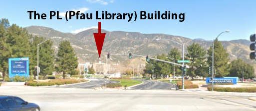 The main entrance to the CSUSB campus.  PL (Pfau Library) building highlighted.