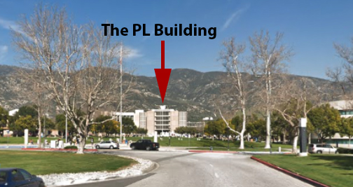 A closer view of the PL building from the main entrance to the CSUSB campus.