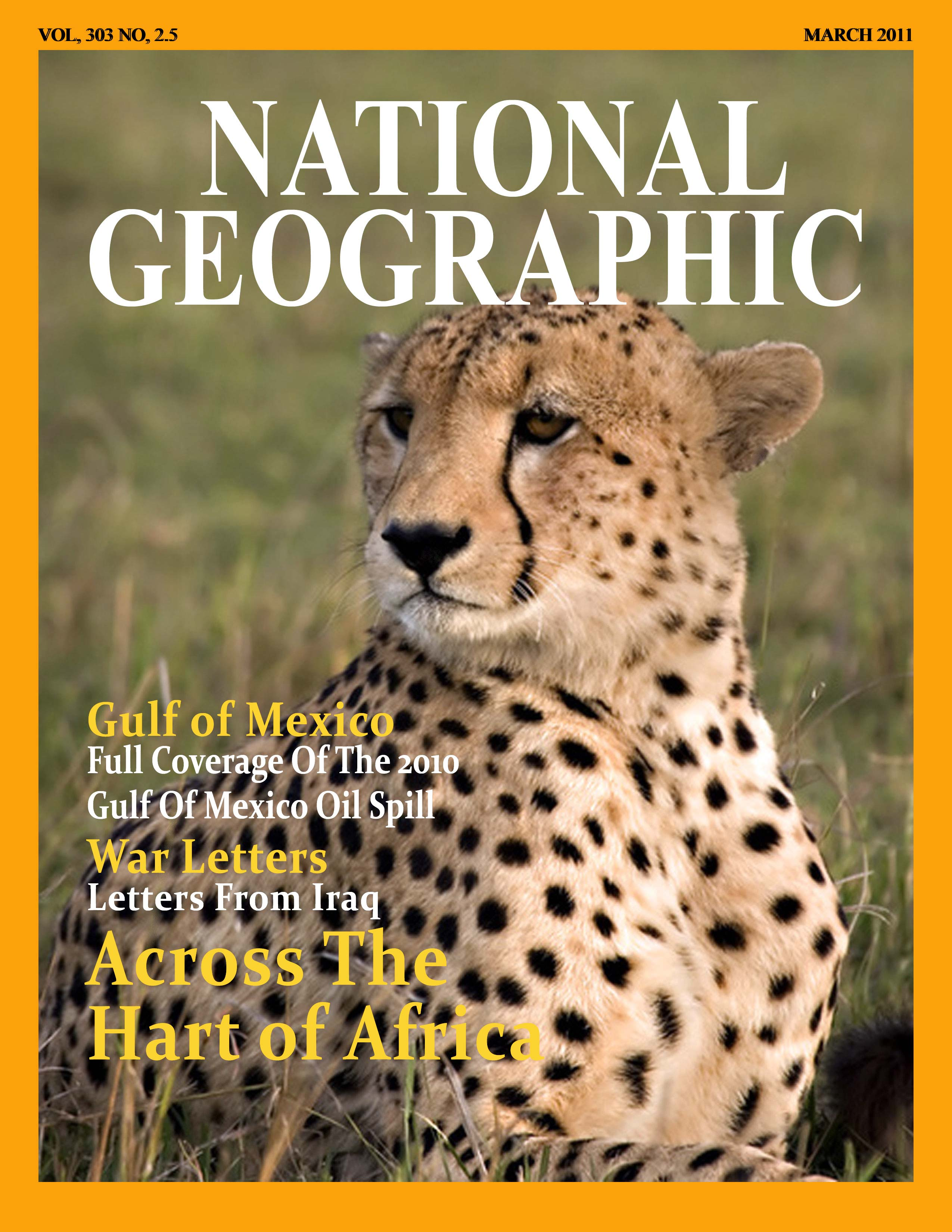 Cover of National Geographic with cheetah.