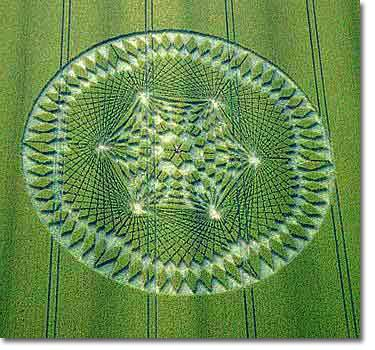 Aerial photo of a crop circle.