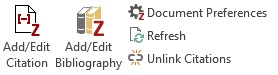 Capture of Zotero 5 Word buttons.