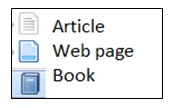 Shows three buttons which are: Article, Web Page, and Book