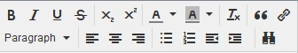 icons used in the Note tab, which uses rich text file (rtf) formatting options
