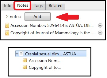 "Notes tab circled in red with a red arrow pointing to the ""Add"" button. Also,  the notes under the parent citation."