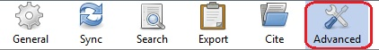 "Zotero Edit>Preferences tab icon with ""Advanced"" tab circled in red."
