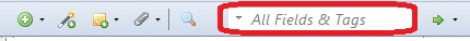 The quick searchbox circled in red in the Zotero toolbar