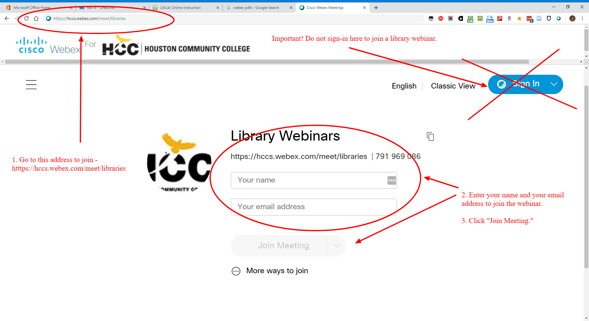 Join a Webinar Screenshot